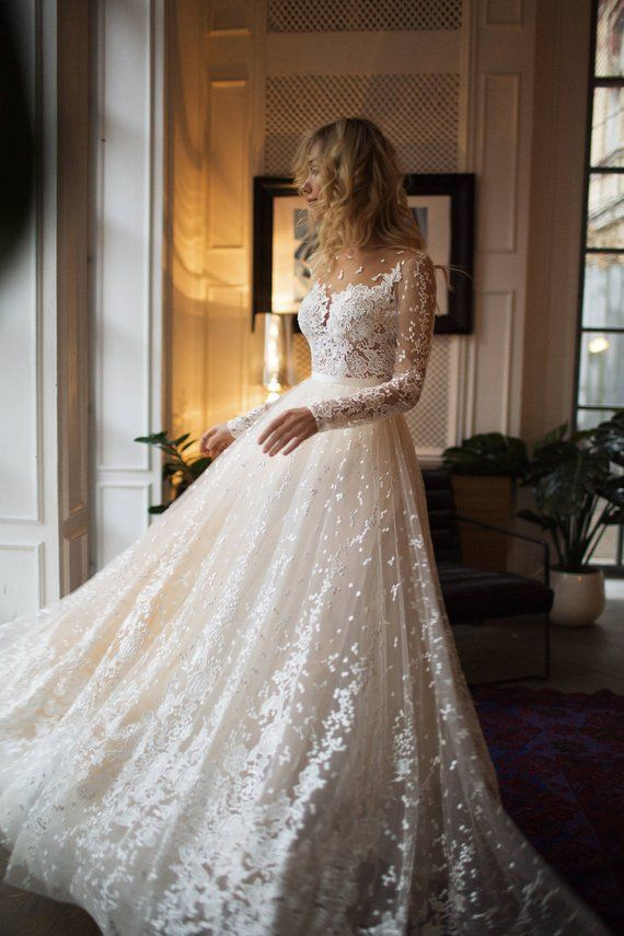 Muse Hochzeit mit langen Ärmeln, niedriger Rücken, A line Brautkleid – #Ärmel…