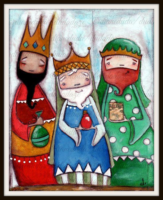 Four Print Set of my original paintings Nativity by DUDADAZE