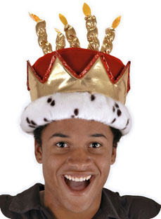 Birthday King Royal Cake Hat Well Appointed Red Velvet With Five Gold Lame Candles And Accents Faux Fur Iridescent