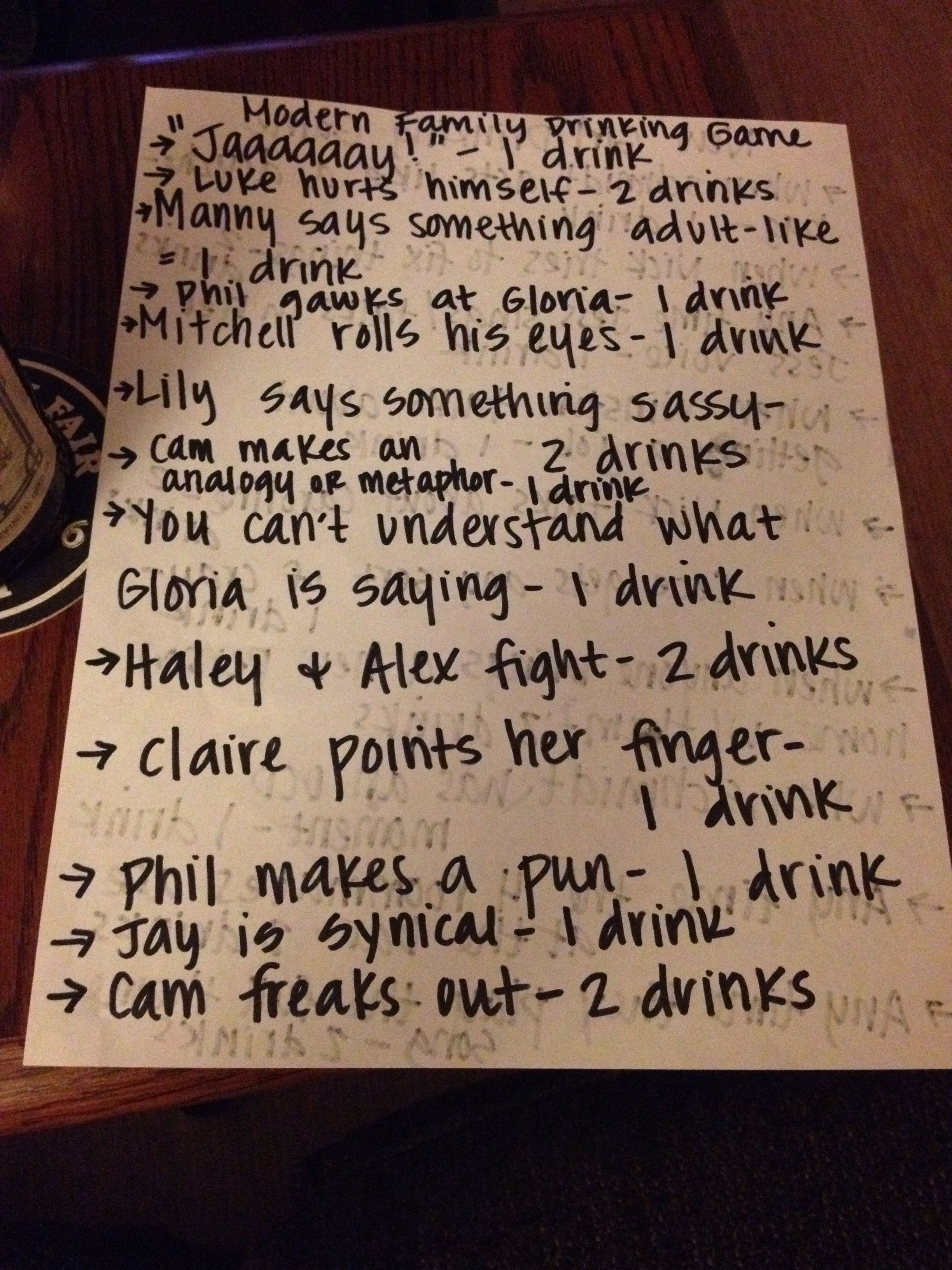 Modern Family drinking game. The second official Melissa Bailey Pinterest post
