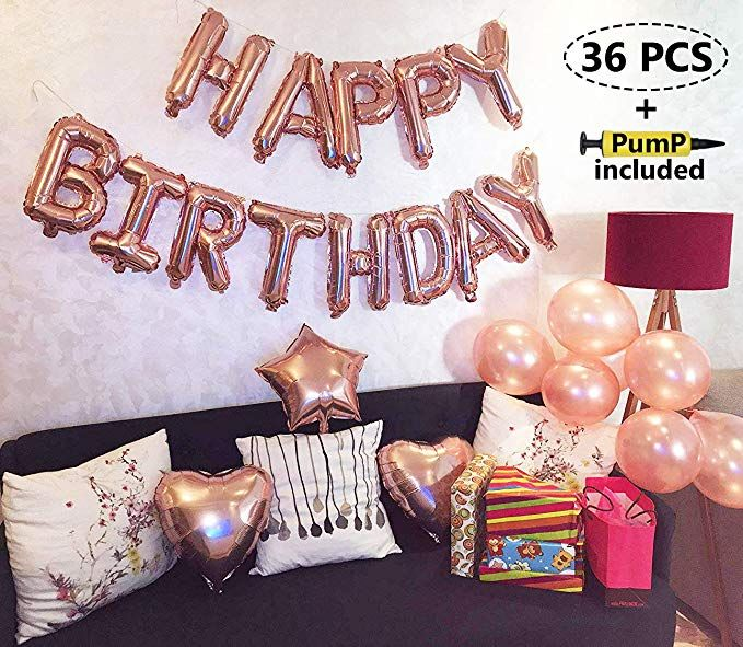 Rose Gold Happy Birthday Balloons Party Decoration Set 36 Pcs Balloon Pump Included 13 Letter Banner 1 Star And 2 Heart Foil