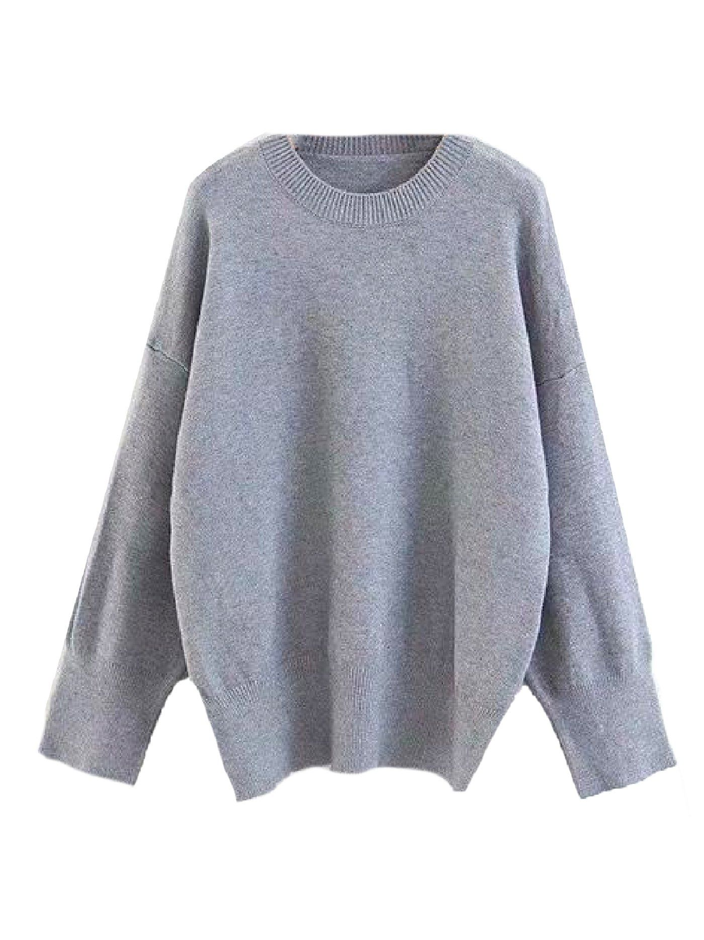 014b99cf1d Goodnight Macaroon 'Isla' Oversized Side Slit Crewneck Sweater Light Grey  Front