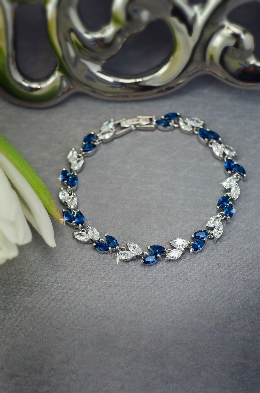 Blue bracelet Sapphire blue bracelet Blue bridal bracelet Wedding bracelet Navy blue bracelet cz jewelry Something blue Navy Wedding by SenceOfBeauty on Etsy https://www.etsy.com/uk/listing/267620795/blue-bracelet-sapphire-blue-bracelet
