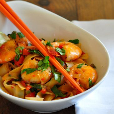 Noodle Over Stir-Fried Shrimp and Cilantro: I'm always looking for easy dinners that are tasty and fresh.
