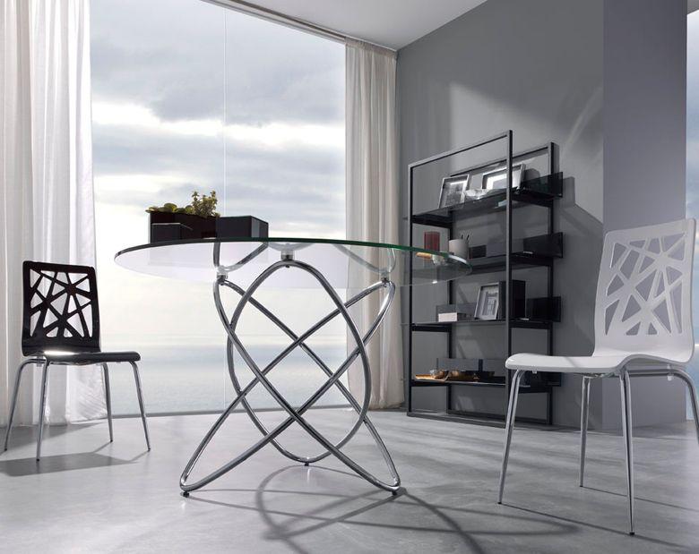 Mesa de comedor moderna redonda con cristal medidas 120 x 75 cm cristal templado estructura de - Mesas de comedor modernas de cristal ...