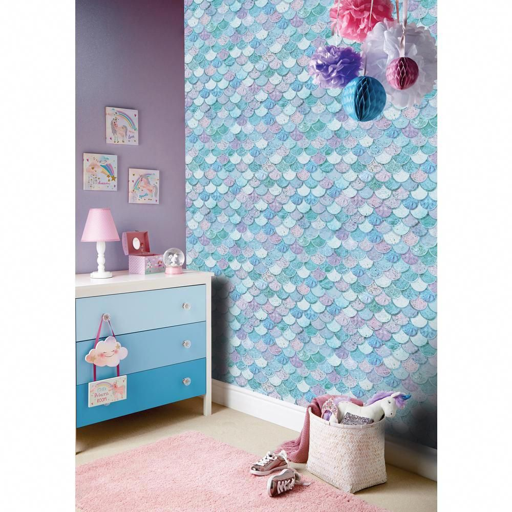 Arthouse Mermazing Scales Ice Blue Wallpaper 698305 - The Home Depot