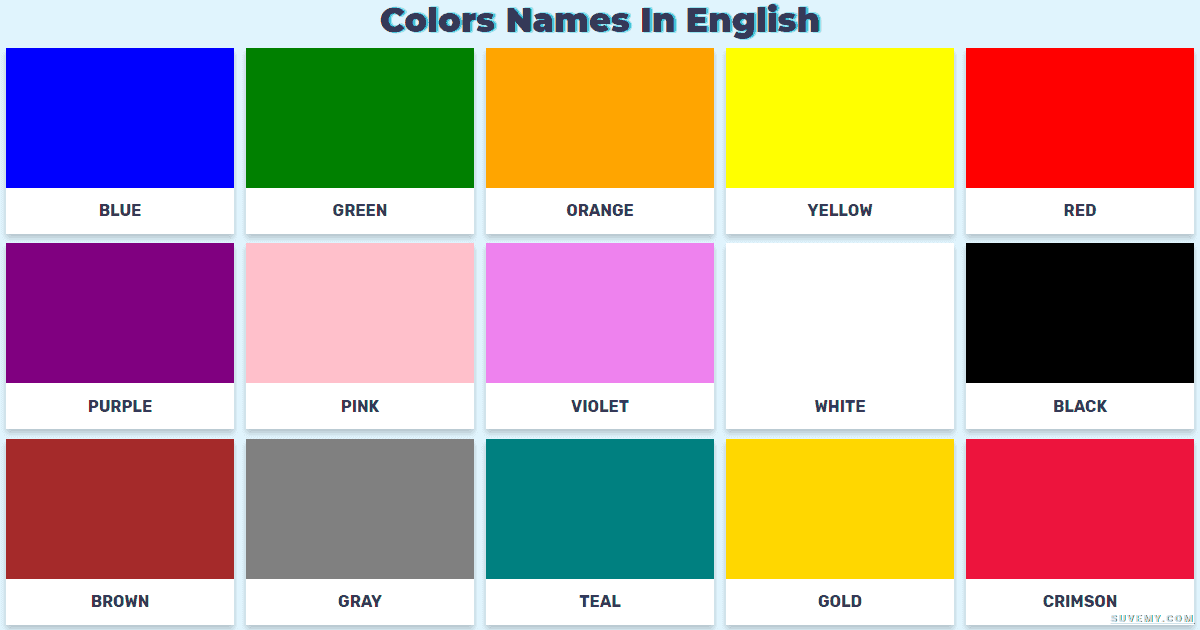 color vocabulary of the color names in