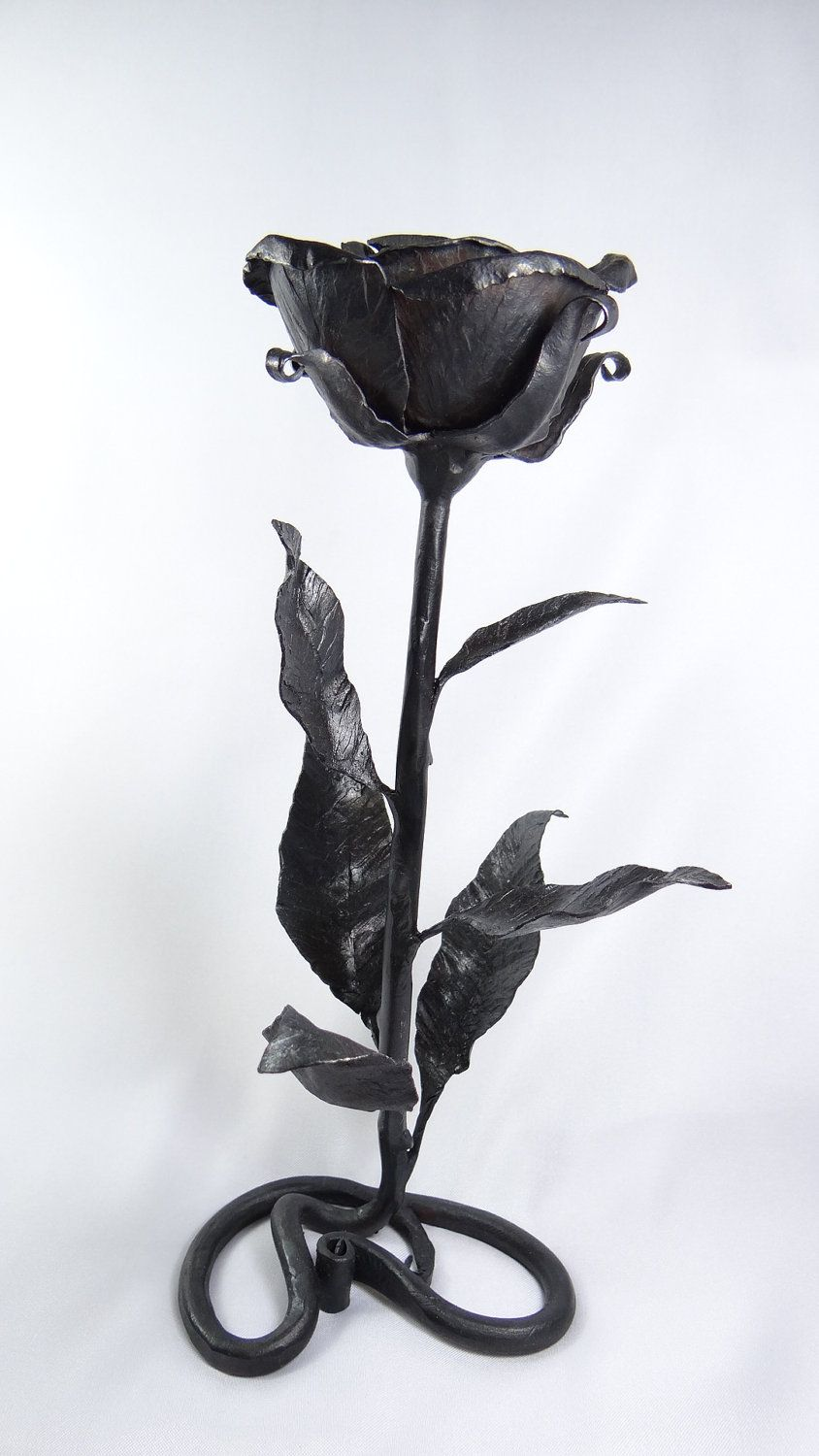 metal wrought iron hand forged black decorative rose flower