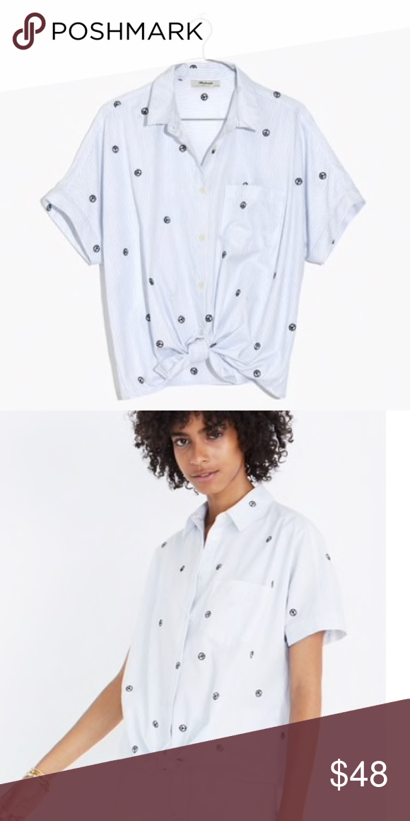4dc65271d Madewell peace sign tie-front shirt Short sleeve button down in light blue  and white stripes with embroidered peace signs. Slightly oversized fit.