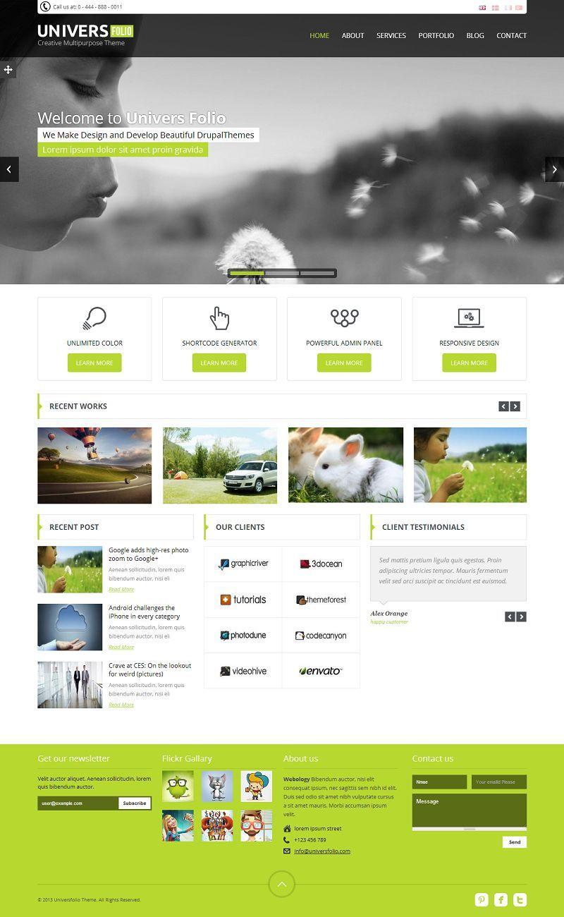 Universefolio Responsive Multipurpose Drupal Portfolio Theme Drupal Theme Website Design