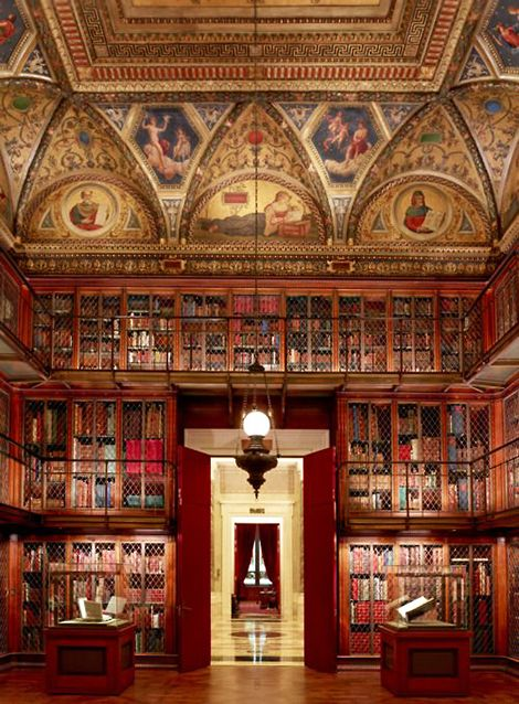 Beautiful Libraries and Bookshops...The Morgan Library, New York, built in 1906 to house financier Pierpont Morgan's weighty collection of rare tomes and manuscripts, photo by Graham Haber.