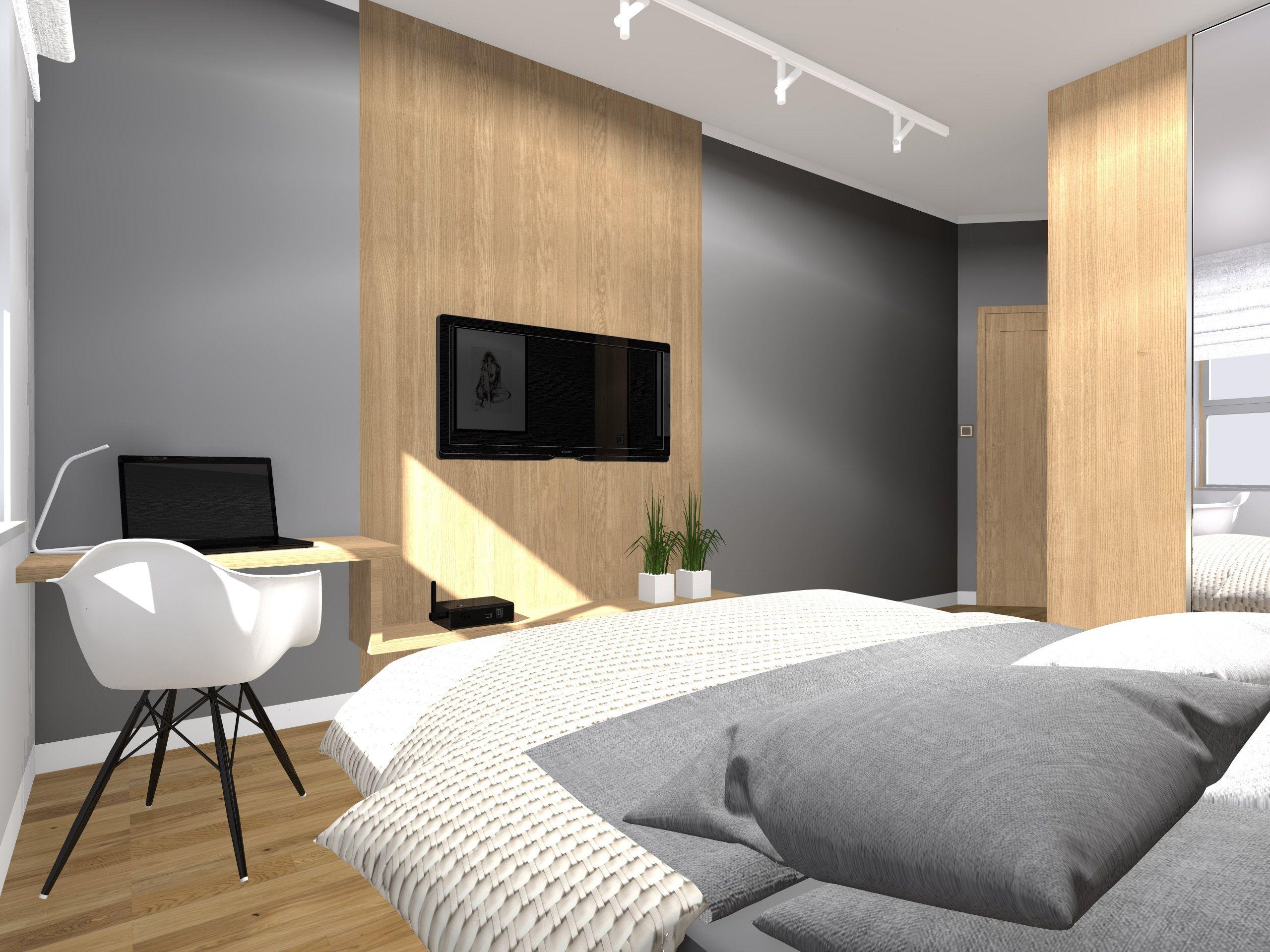 Projekt Małej Sypialni Z Garderobą I Miejscem Do Pracy