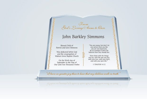 Crystal Bible Baby Dedication Plaque