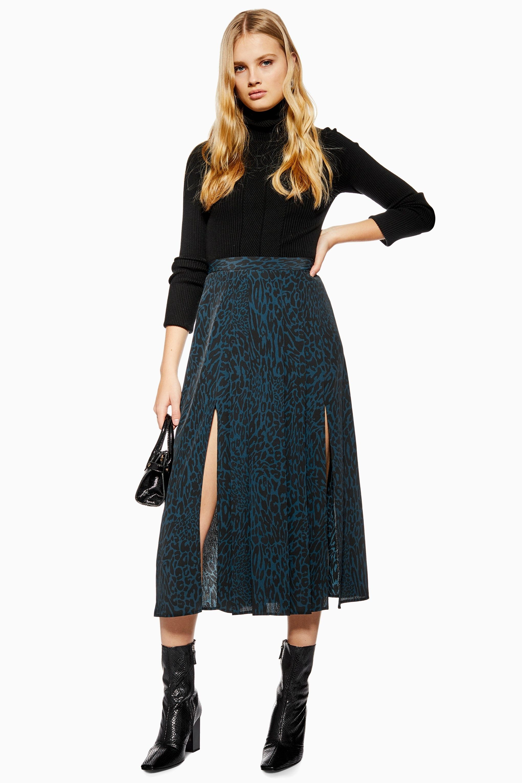 06c7da49083a Topshop Leopard Print Box Pleat Midi Skirt - Skirts - Clothing - Topshop  Size 8 £39
