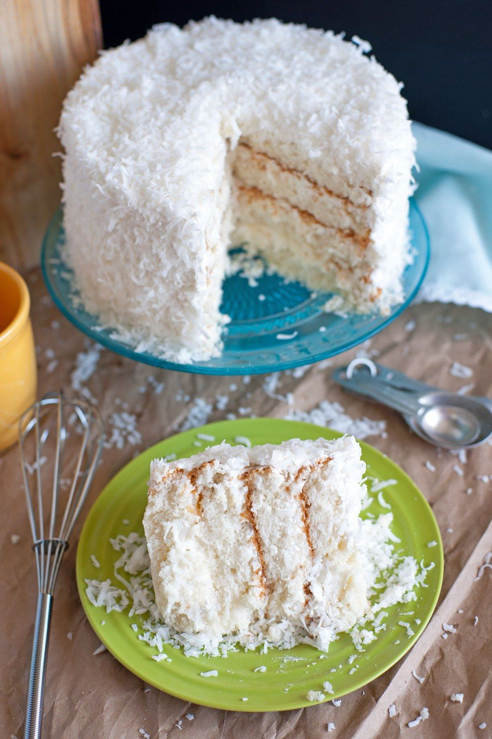 Coconut cake with sour cream chantilly icing recipe