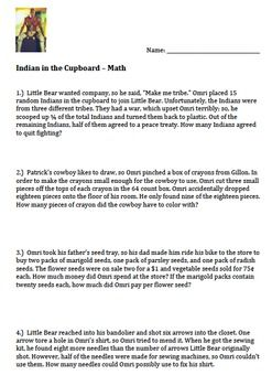 The Indian In The Cupboard Worksheets Indian In The Cupboard Math Word Problems Word Problems