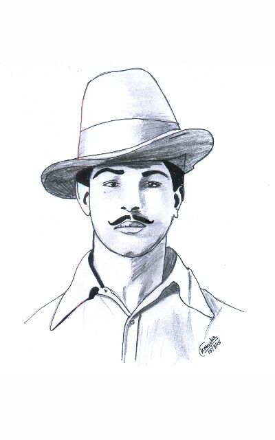 Bhagat singh drawing pencil black marker pen sketch on a 4 paper