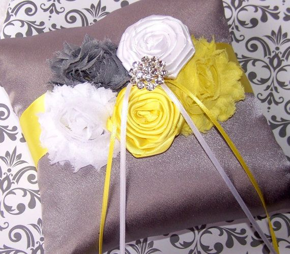 Ring Bearer Pillow  Shabby Chic Ring Pillow Yellow and by itsmyday, $40.00