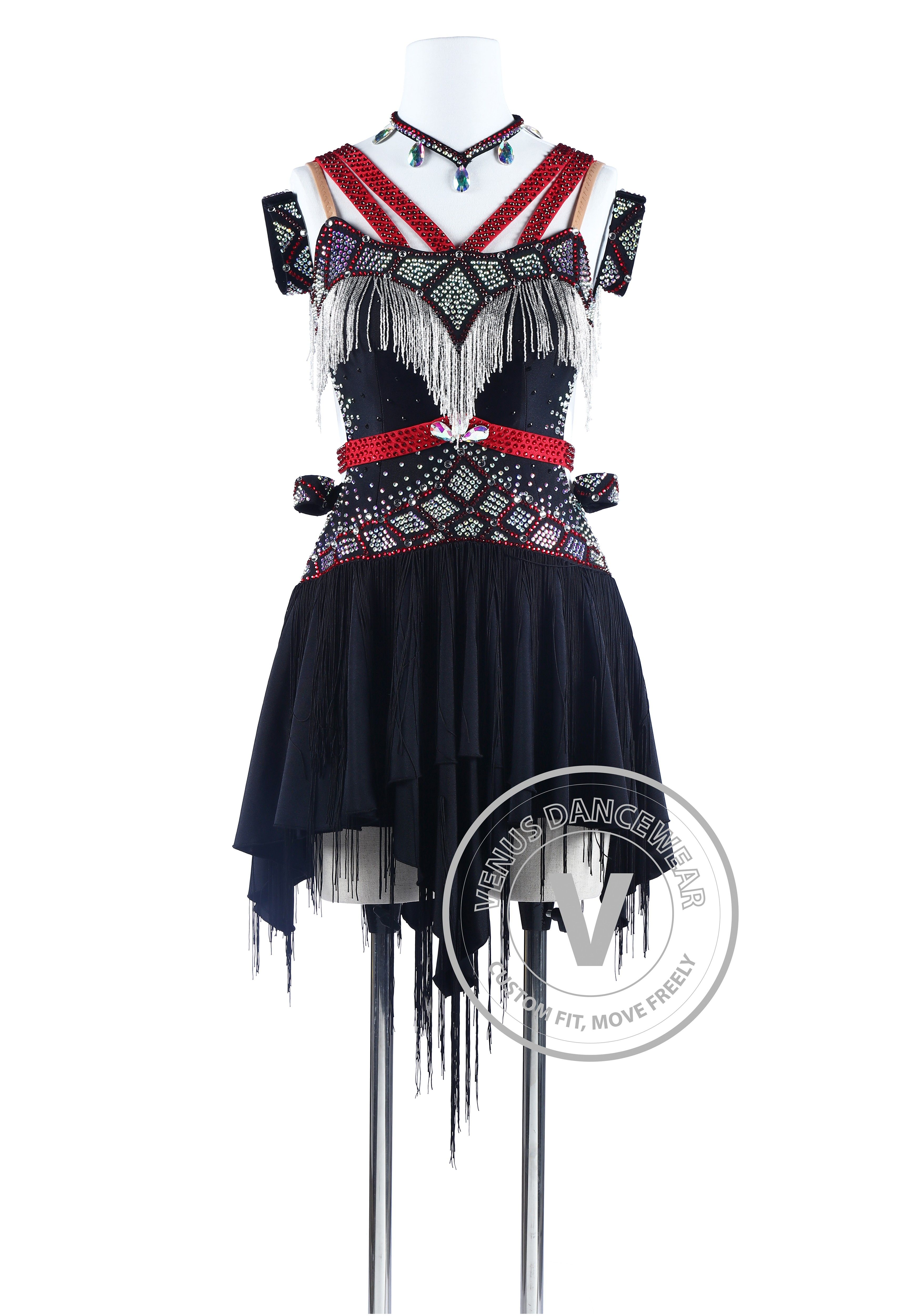 90f9fd022 Red Straps and Beading Cubes Salsa Latin Rhythm Dance Competition Dress