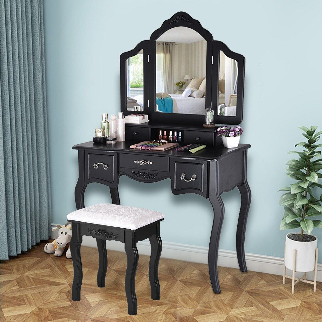 Dresser Table Mirror With Chair Set Vanity Table Makeup Stool Wooden 5 Drawers Modern Mesa Assembly Bedroom Eu In 2020 Vanity Table Set Vanity Table Dressing Table Set