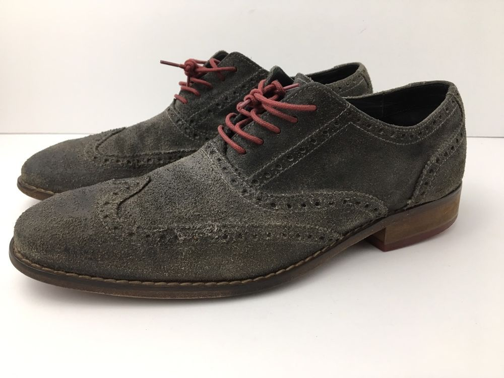 Cole Haan Wingtip Brogue Distressed Men's Gray Suede Red Lace Shoes Colton  US11