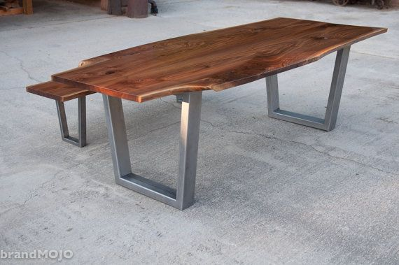 Live Edge Walnut Dining Table With Steel Legs And Optional Bench    Reclaimed Hardwood   Metal Wood   Handmade In The USA   Custom