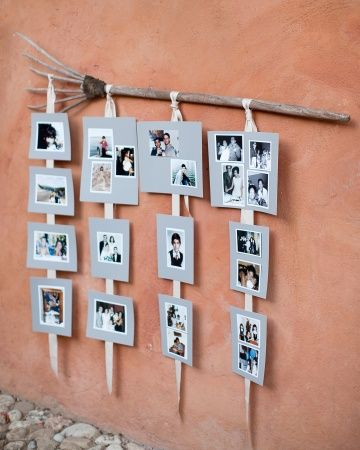 We love this easy-to-craft photo display for reception decor