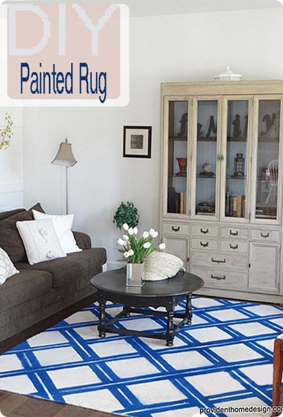 Blue And White Lattice Spray Painted Rug Home Design