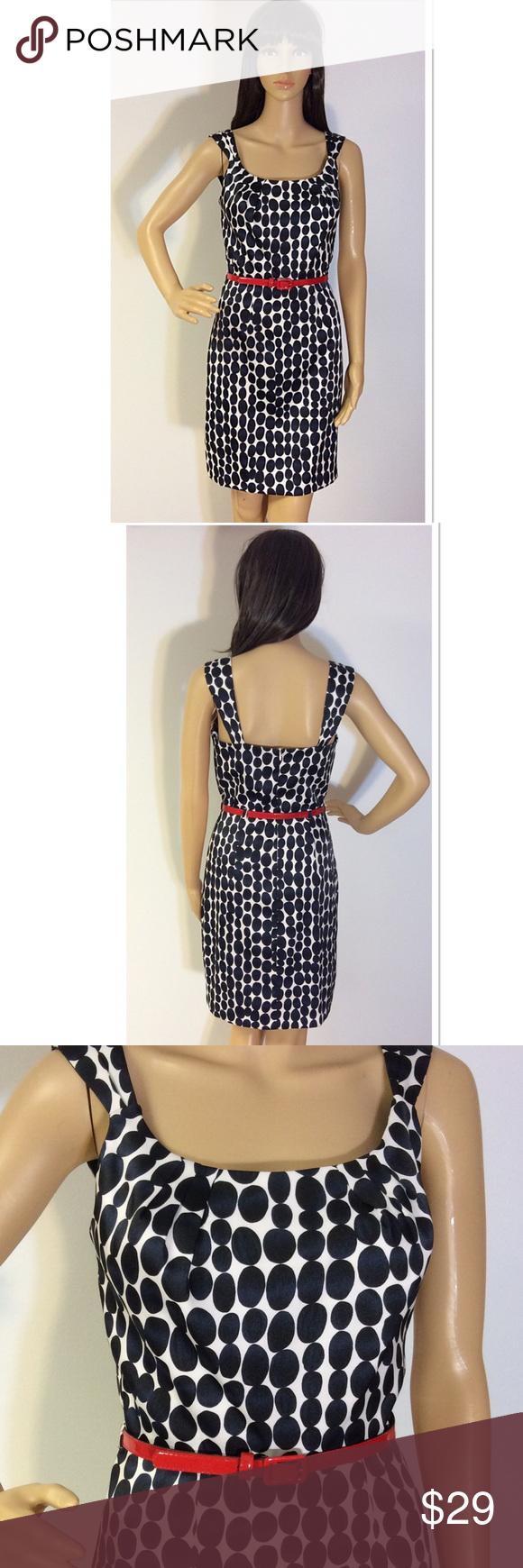 A byer navy uwhite polka dot dress with red belt