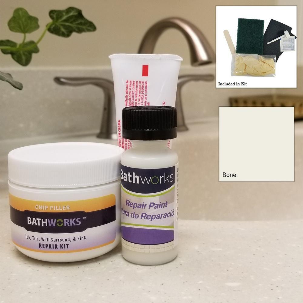 Bathworks 4 Oz Tub And Tile Chip Repair Kit In Bone Ivory In