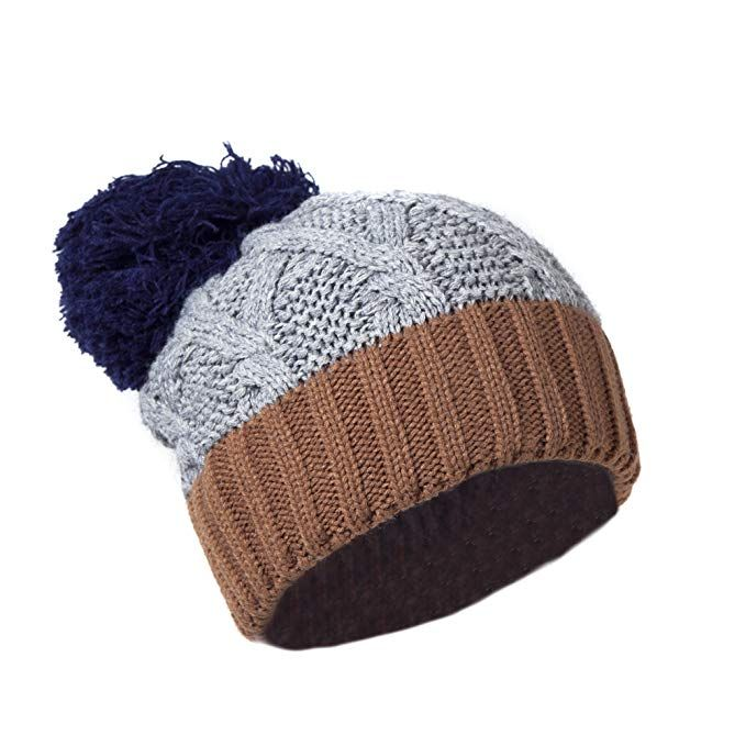 e9e118663429cd Chic Warm Chenille Ski Beanie w/Pom Pom, Vintage Color Block Cable Knit Cap  Review