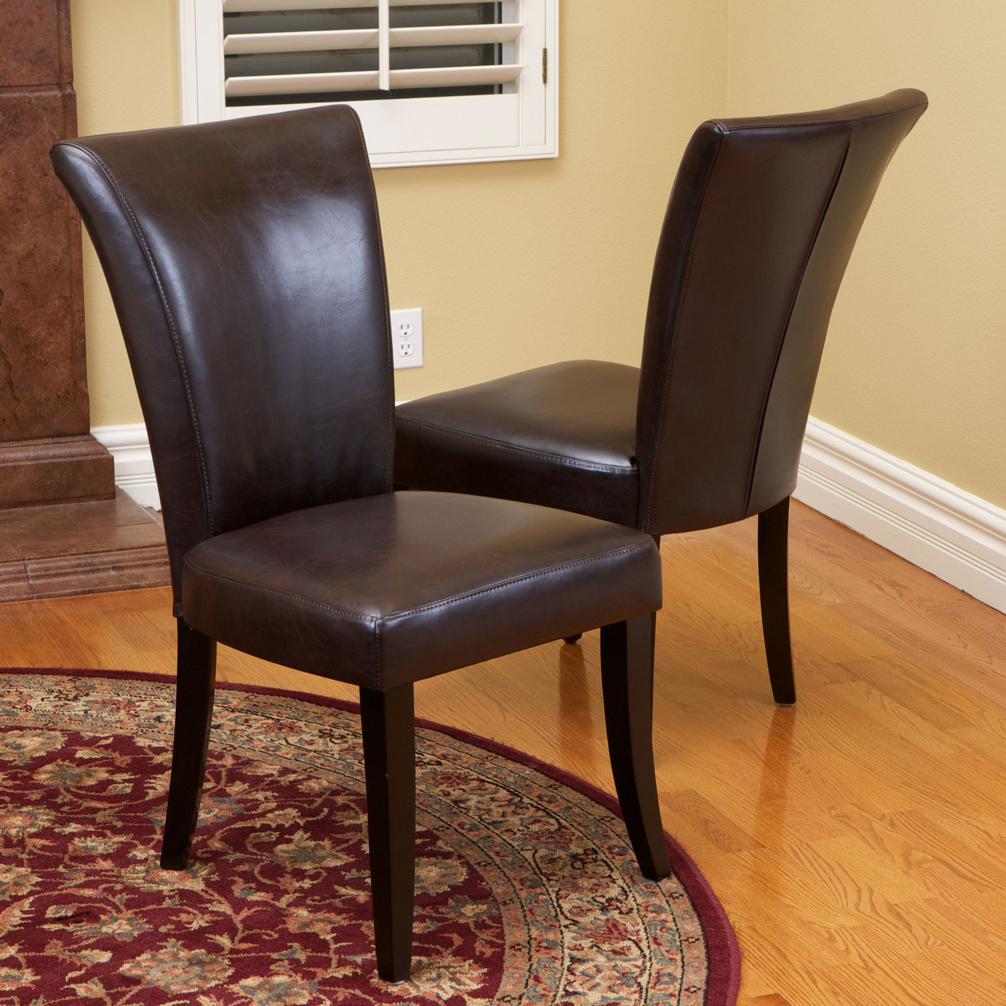 Leopold Brown Leather Dining Chairs (Set Of 2)