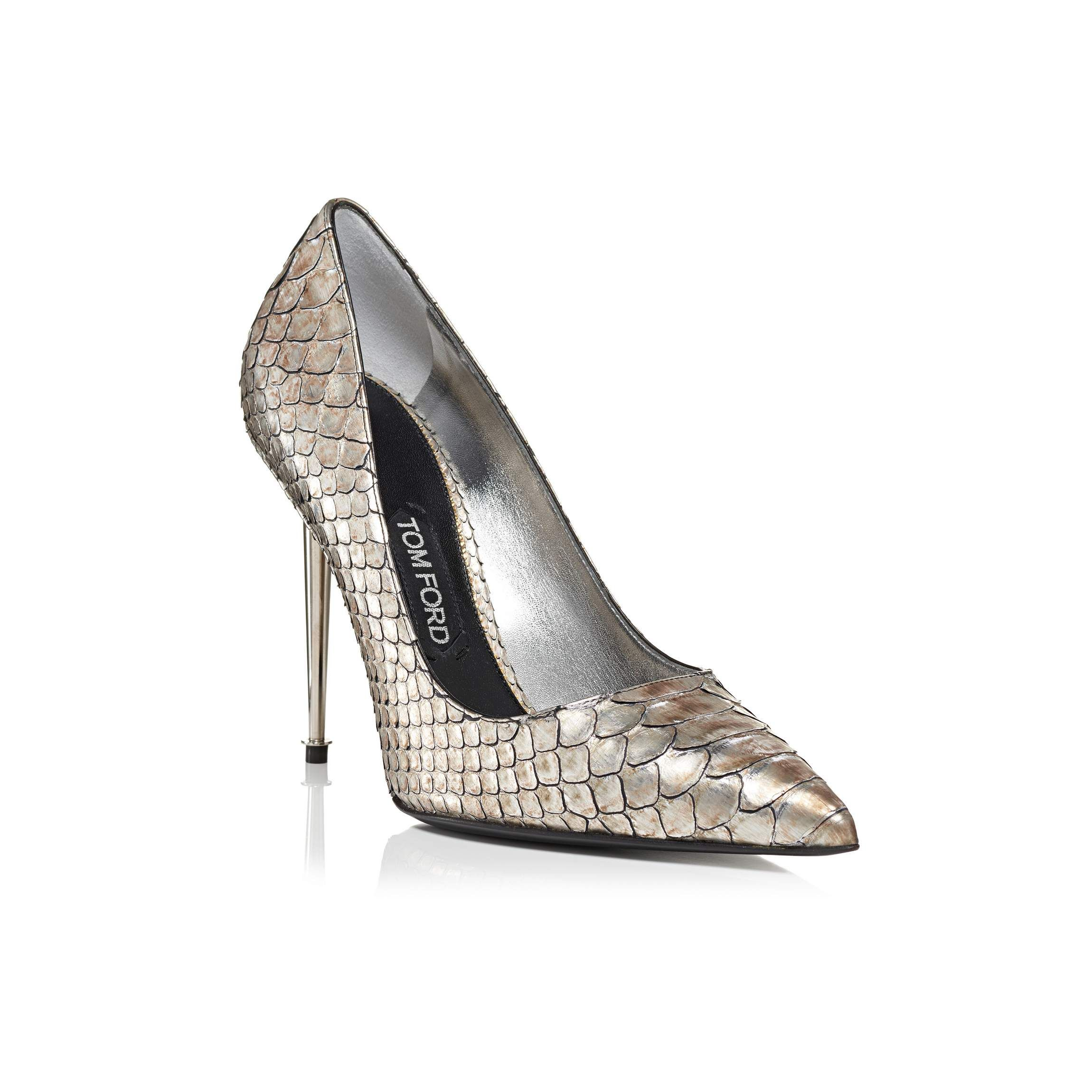 1a2eb71b48f0 Metallic Python Pump With Silver Spike Heel