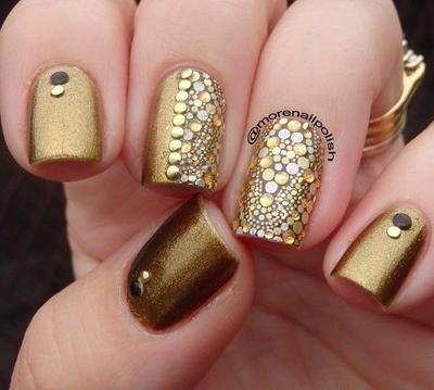 30 diseños de uñas en dorado para deslumbrar en las fiestas - modelos de uas