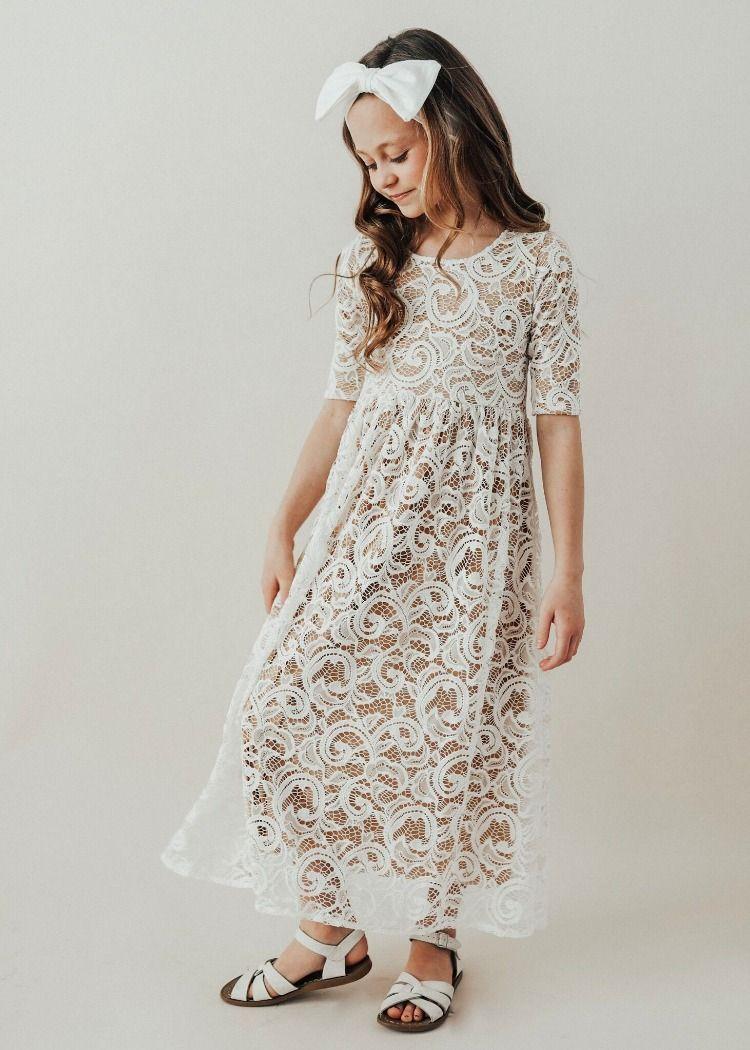 Jane Eyre White Tan Full Length Dress In 2021 Girls White Lace Dress Modest White Dress Lace White Dress [ 1050 x 750 Pixel ]