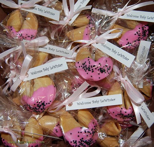 Baby Shower Cookies Favors ~ Pink fortune cookies bulk for baby shower girl