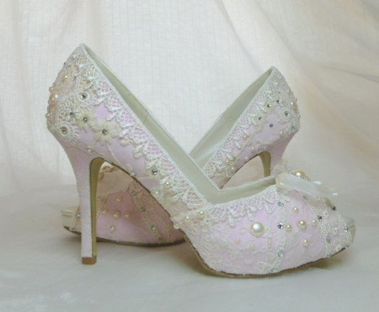 09cc67de4f41ee Lacey pale pink and ivory vintage lace Swarovski crystal and faux pearl  adorned bespoke bridal shoes