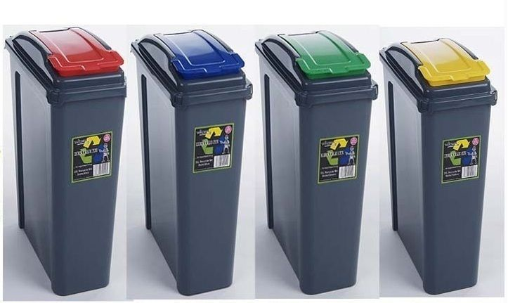 4 X 25l Litre Garden Waste Rubbish Plastic Kitchen Recycle Bin Recycling Bins Bin Recycle Rececling Bins Recycling Bins Recycled Kitchen
