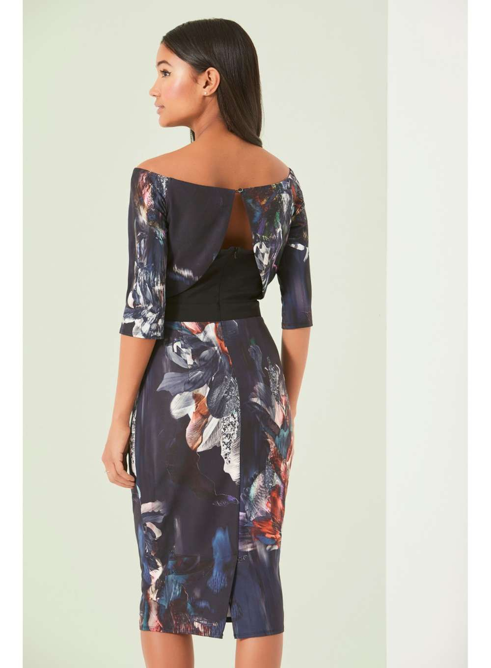 Womens   Little Mistress Navy Floral Off Shoulder Pencil Dress- Navy e38901ce87