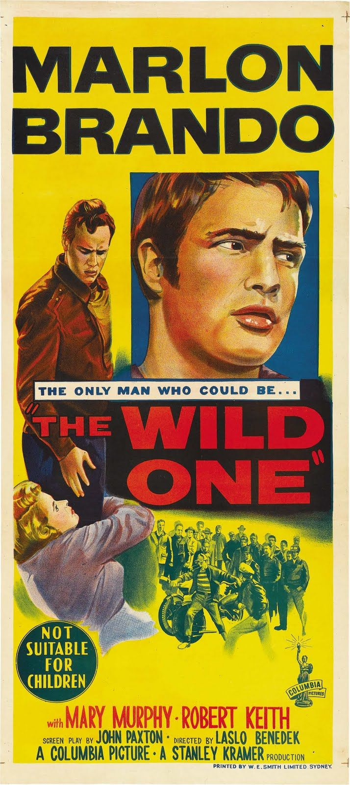 "MOVIE POSTERS ~ Australian ""daybill"" release poster for The Wild One . . . http://en.wikipedia.org/wiki/Daybill . . . http://en.wikipedia.org/wiki/Film_poster#Film_poster_sizes"