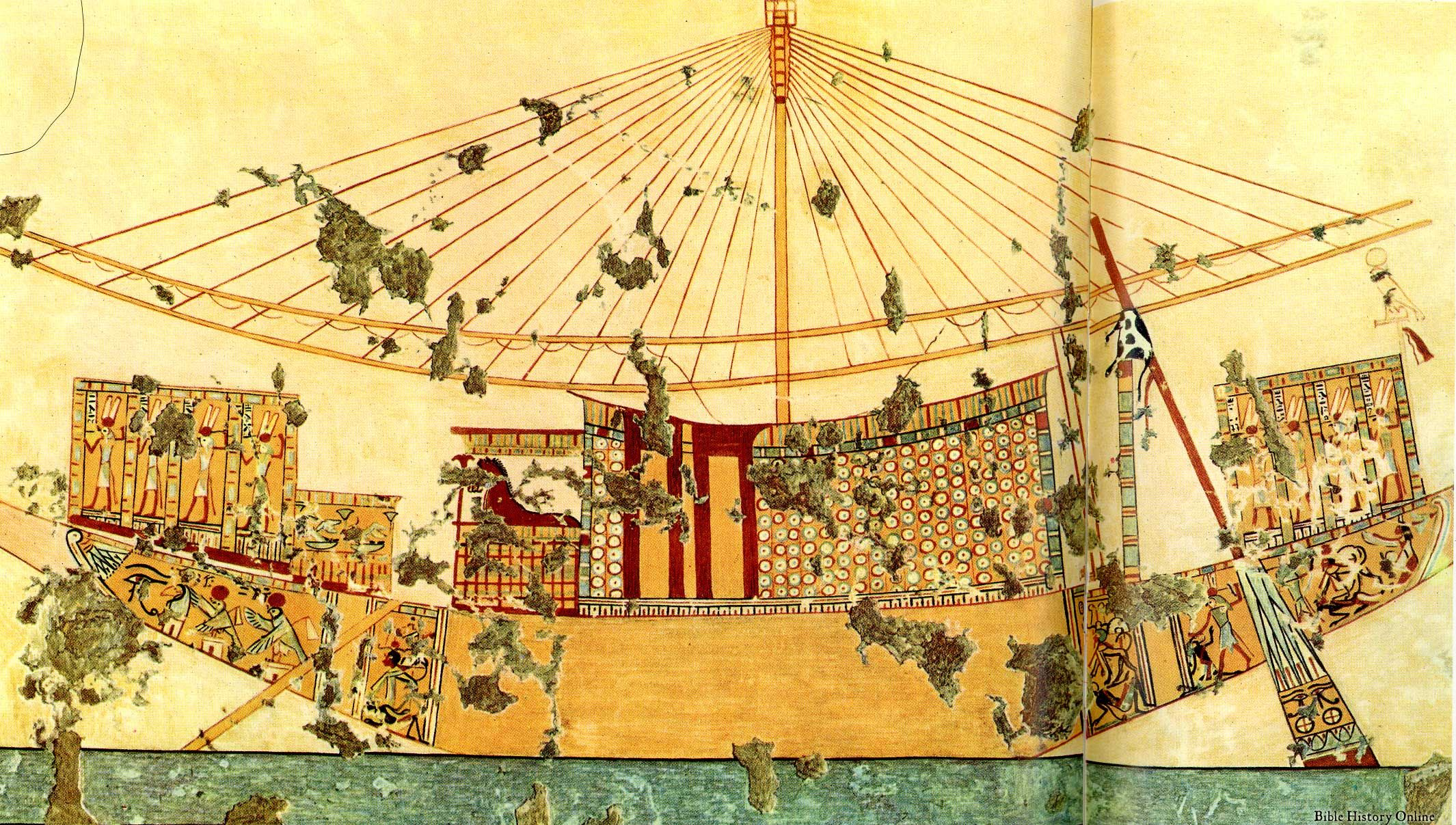 Egyptian Wall Painting of a Luxury Sailing Vessel | Ancient Egypt ...