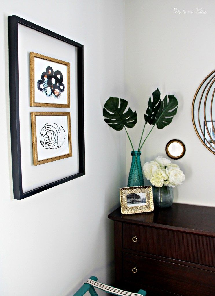 Guestroom revamp - Minted art - open frame - luggage rack - - dresser - fresh flowers - This is our Bliss