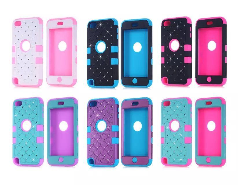 Luxury Diamond Bling Case For iPod Touch 5 Hybrid 3 in 1 ...