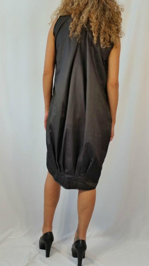 Black Asymmetrical Tunic Dress Loose Extravagant Kaftan Hi Low