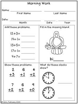 1st Grade Math This Worksheet Is Super Simple For The Students To Work On Before A Lesson It Can Get Their Bra Grade 1 First Grade Classroom Student Teaching