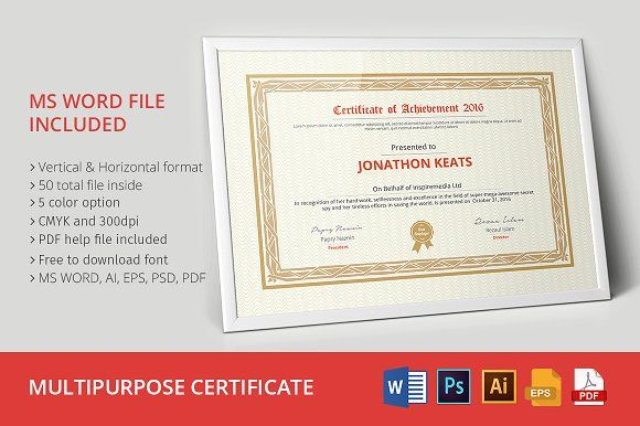 Multipurpose certificate 01 by jilapi on creativemarket this premium multipurpose certificate template belongs ms word ai eps psd pdf versions this template is customizable and ready to print a help file i yelopaper Choice Image