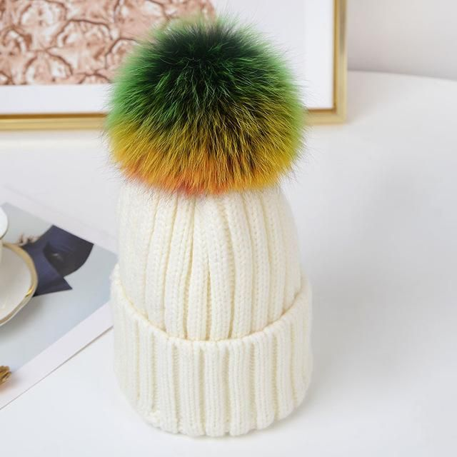 KNB043 Multicolor Fur pom pom Knitted beanies cap New winter rainbow  raccoon fur ball knit hat Ski skullies Bonnet ee8d5e37111