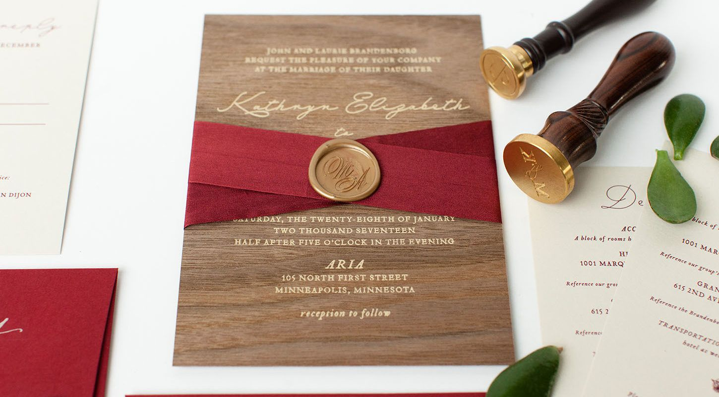 Wedding Invitations Mn: Custom Wood Invitation With Silk Ribbon And Wax Seal From