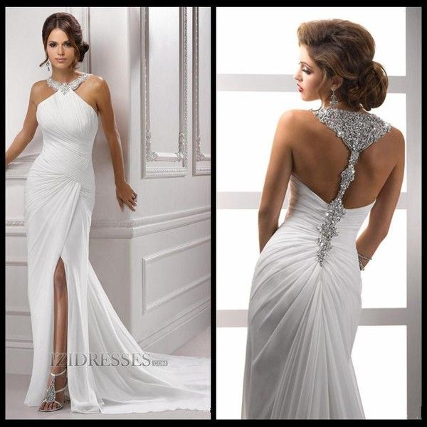 Sparkling Halter Crystal Beads Evening Gowns Bling Bling
