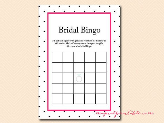 Bridal Bingo Bingo Cards Blank Bingo Gift Bingo Hot Pink